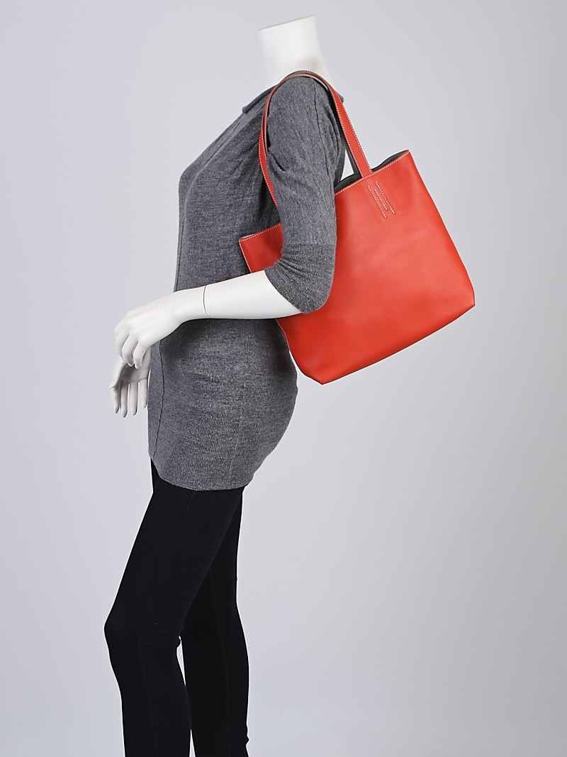 Hermes 36cm Rouge Vermillion and Pearl Grey Sikkim Leather Double ...