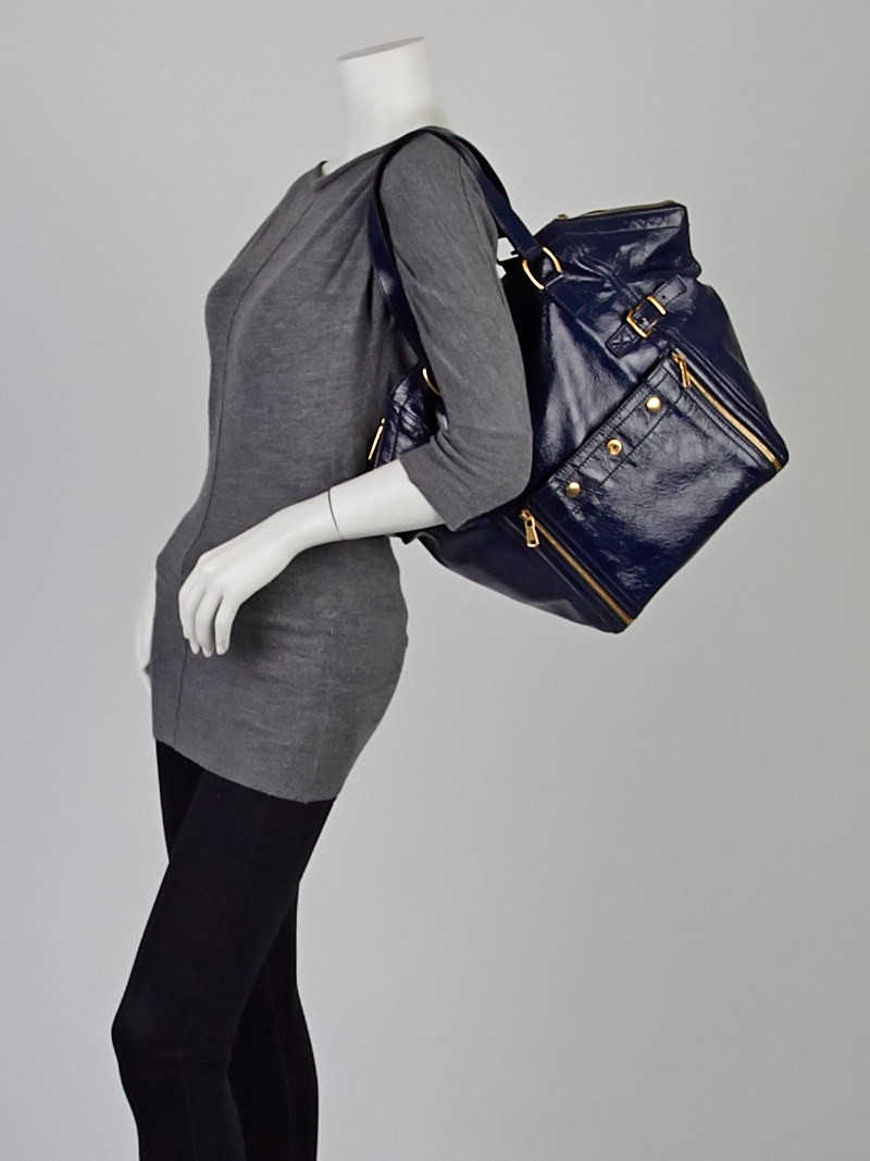 Yves Saint Laurent Navy Blue Patent Leather Large Downtown Tote ...