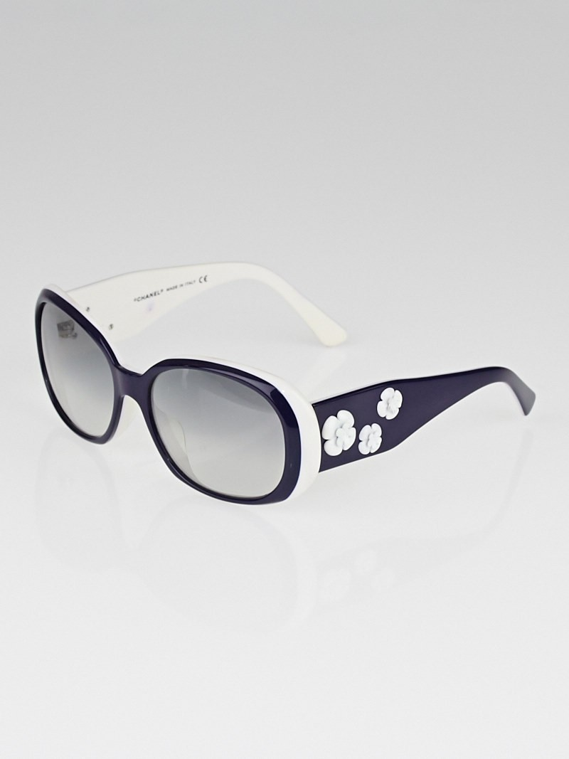 Chanel Blue/White Frame Camellia Flower Sunglasses-5113 ...