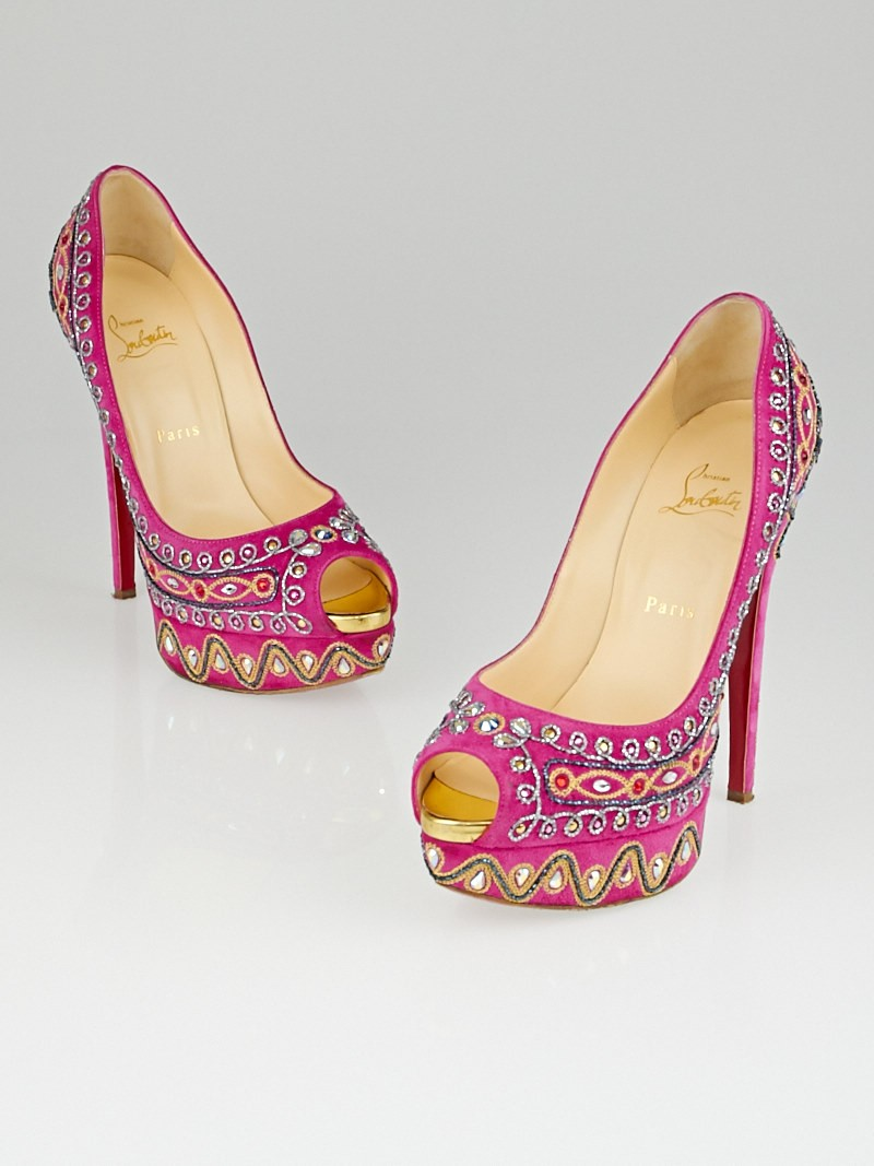 Christian Louboutin Hot Pink Suede Bollywood Peep Toe Pumps Size 9 ...