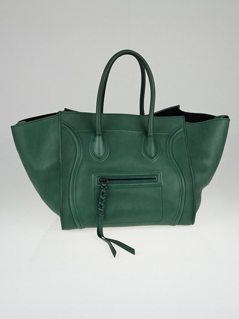 celine pocketbooks - Celine Emerald Green Calfskin Leather Small Phantom Luggage Tote ...