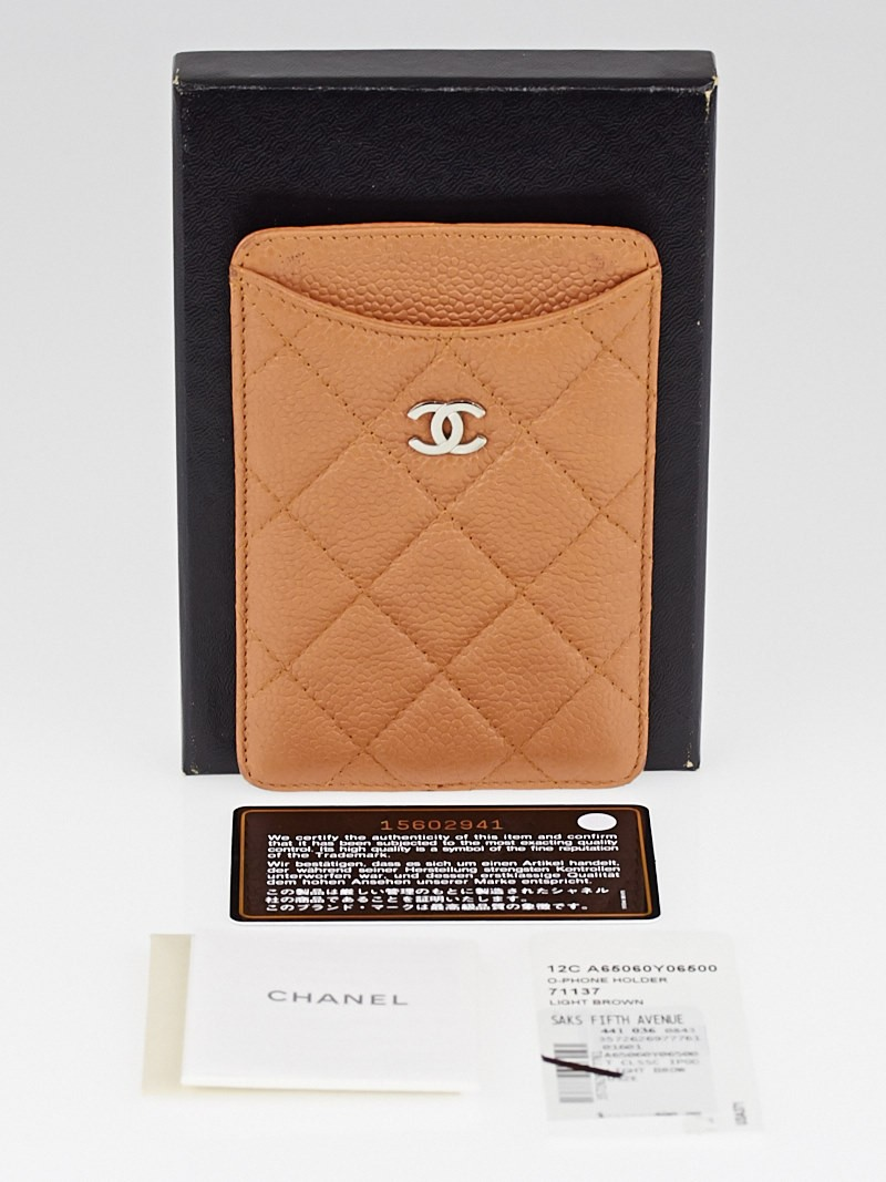 chanel light brown quilted caviar leather iphone 55s case