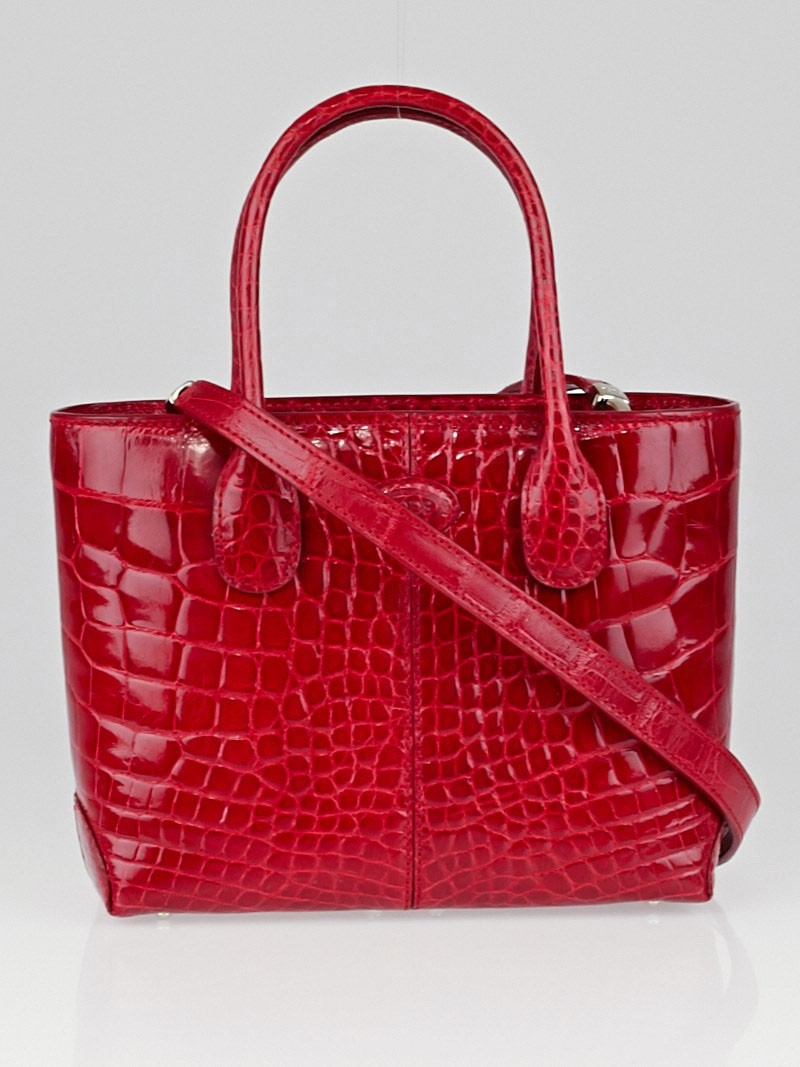 tod 39 s red alligator classic mini d bag yoogi 39 s closet. Black Bedroom Furniture Sets. Home Design Ideas