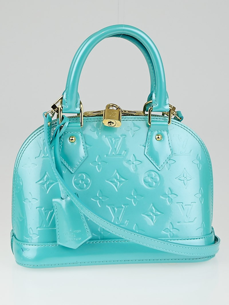 Louis vuitton bleu lagon monogram vernis alma bb bag for Louis vuitton miroir alma bag price