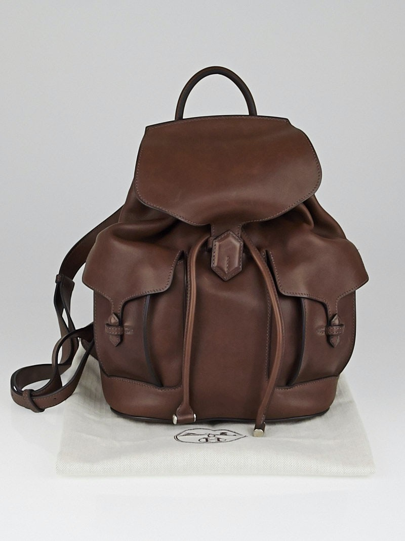 Hermes Chocolate Barenia Leather Sac a Dos Backpack PM Bag ...