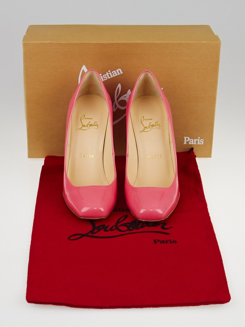 Christian Louboutin Pink Patent Leather Decollete 328 100 Square ...