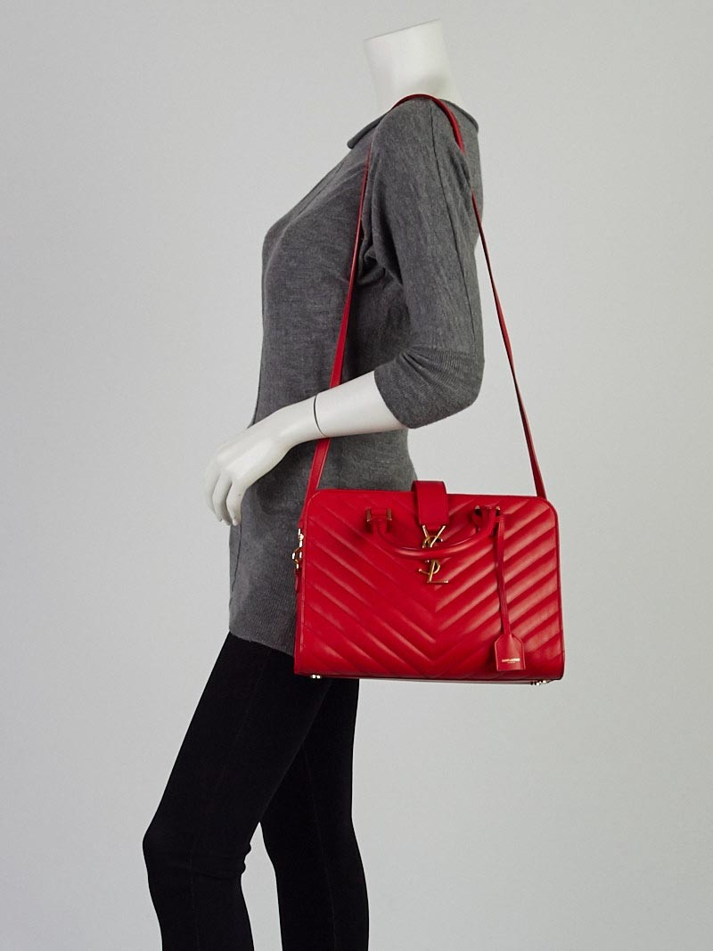 Yves Saint Lau Bag Red Matelasse Quilted Leather Small Monogram Cabas
