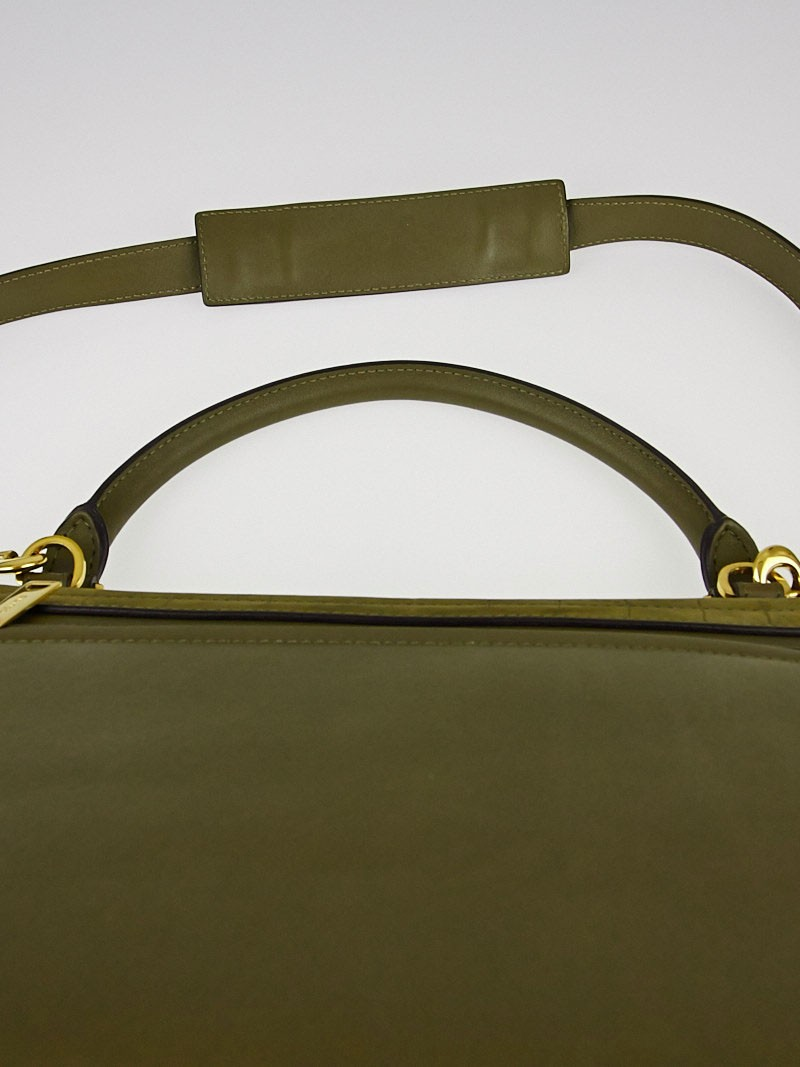 Celine Olive Stamped Crocodile Nubuck and Leather Small Trapeze ...