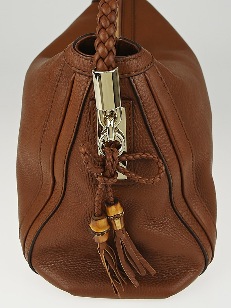 Gucci Brown Leather Medium Bella Hobo Bag - Yoogi's Closet