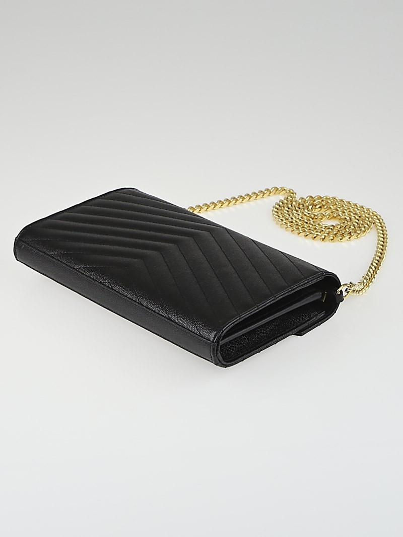 prada leather accessories - Saint Laurent Black Matelasse Quilted Graine de Poudre Leather ...