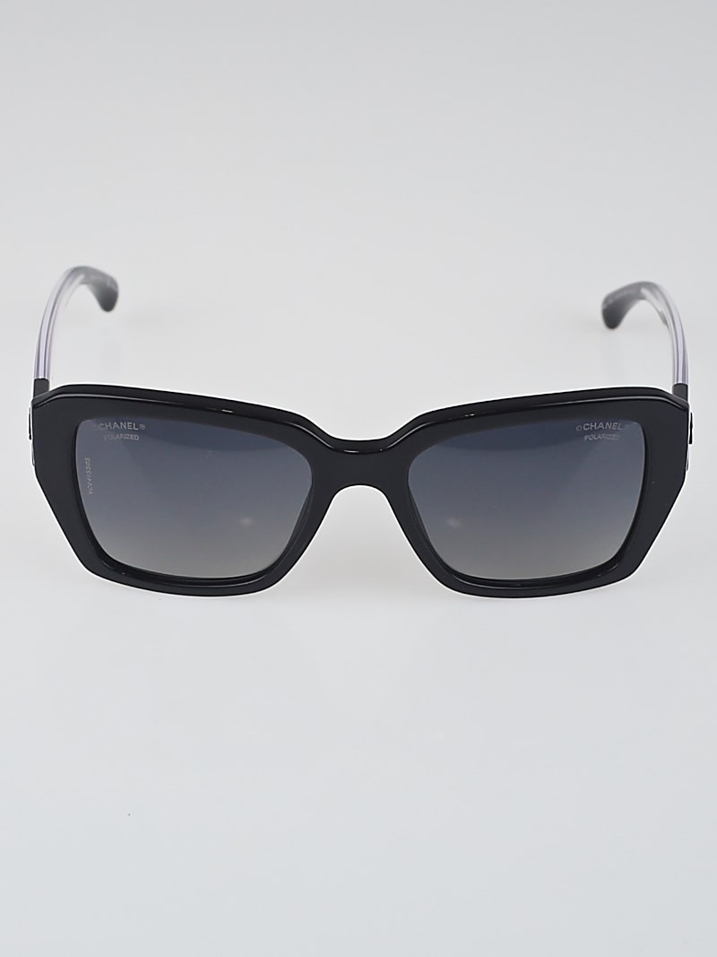 Chanel Clear Frame Glasses : Chanel Black and Clear Square Frame Polarized Sunglasses ...