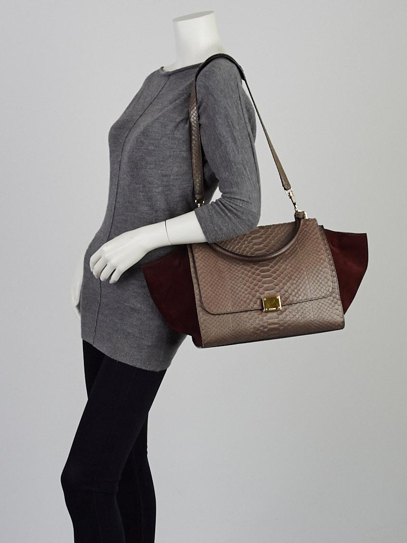 Celine Grey/Bordeaux Python and Suede Small Trapeze Bag - Yoogi\u0026#39;s ...