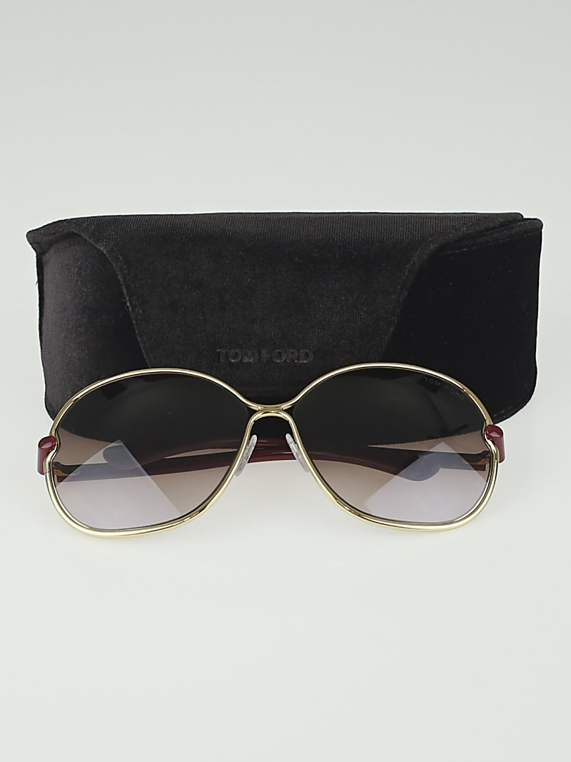 Tom Ford Gold Metal Frame Leila Sunglasses-TF222 - Yoogis ...