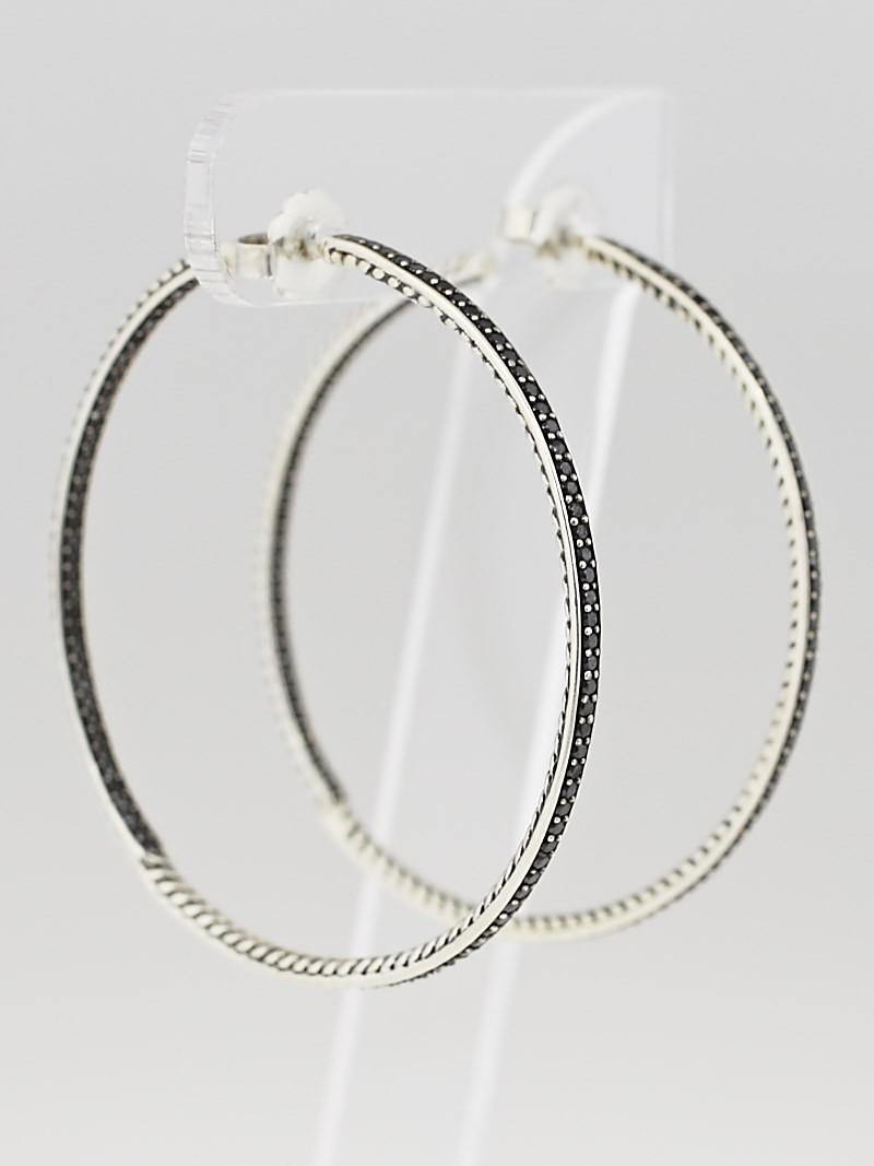 David Yurman Sterling Silver And Black Diamond Sculpted Cable Xl