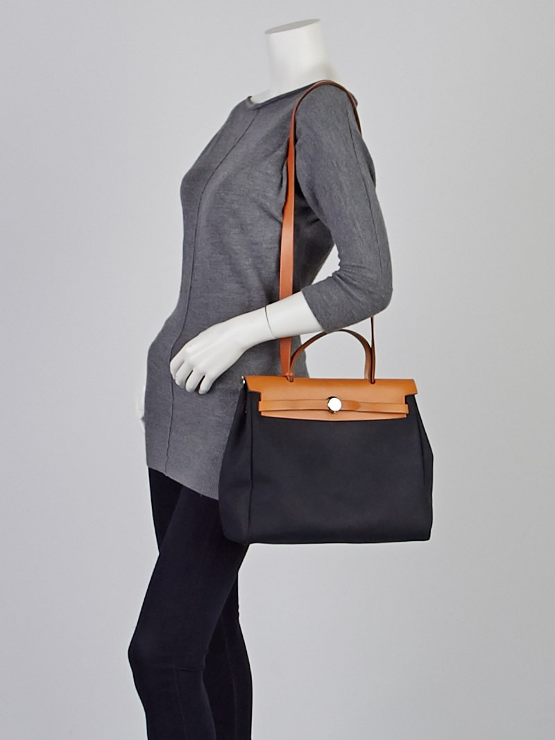 Hermes 30cm Black Canvas And Vache Calfskin Leather 2 In 1