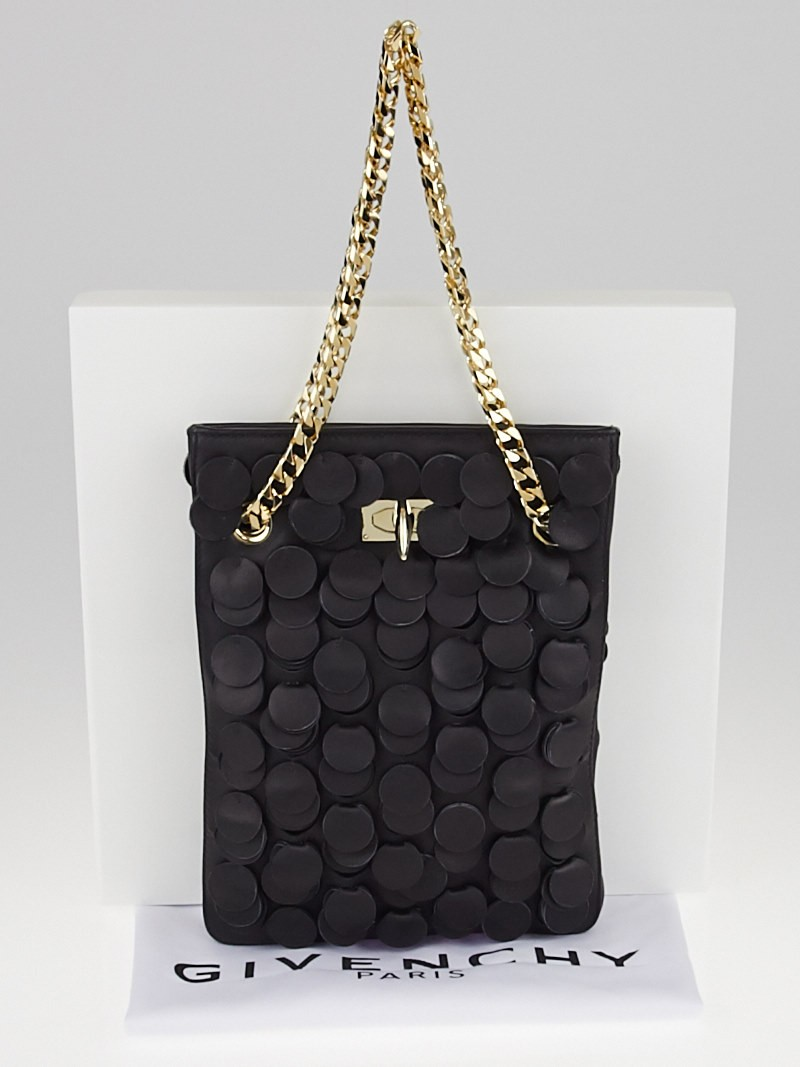 Givenchy Black Leather Chain Small Evening Bag Yoogi S