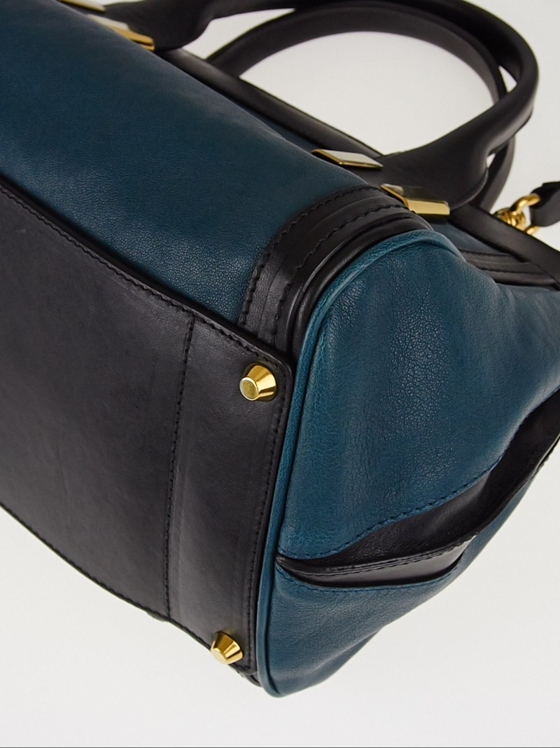 Chloe Teal/Black Leather Colorblock Small Alice Satchel Bag ...
