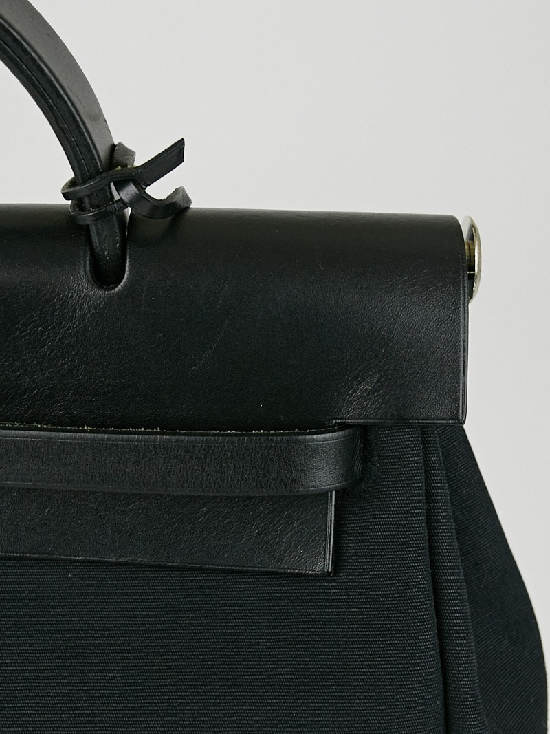 Hermes 30cm Black Toile and Vache Calfskin Leather 2-in-1 Herbag ...