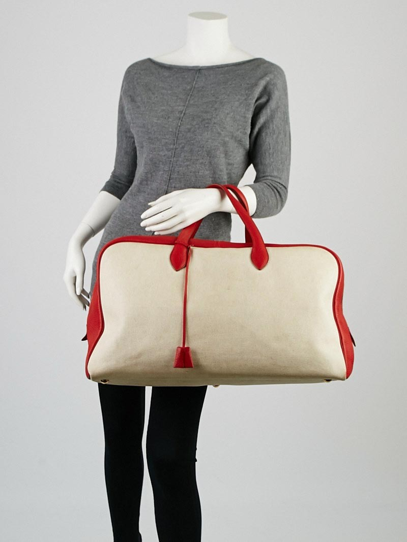 Hermes 50cm Toile and Rouge Clemence Leather Victoria Travel Bag ...