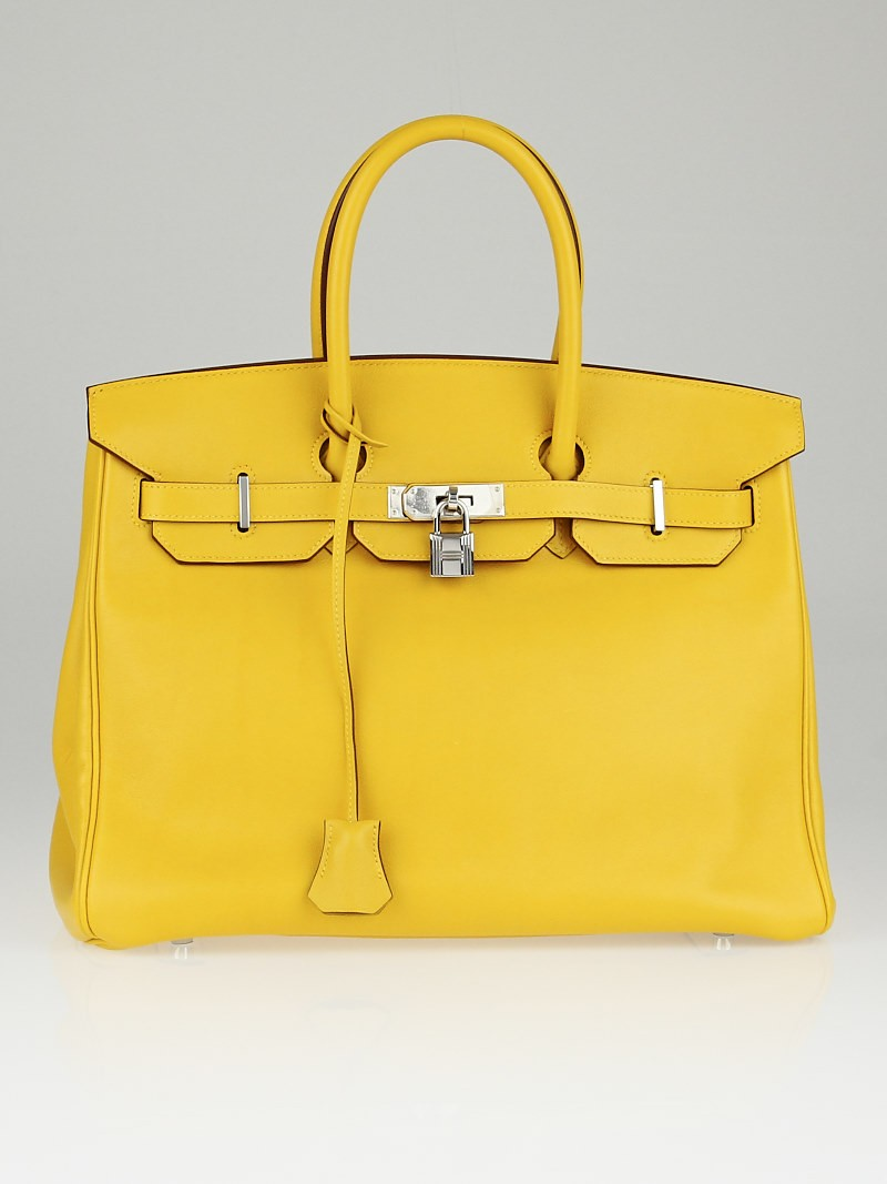 1d75724d1b Hermes 35cm Jaune D Or Swift Leather Palladium Plated Birkin Bag Yoogi s  Closet