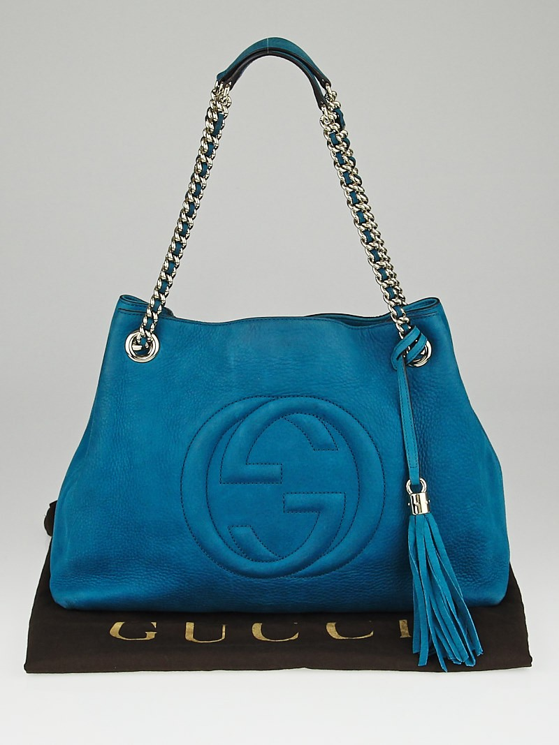 gucci turquoise nubuck leather soho chain tote bag yoogi 39 s closet. Black Bedroom Furniture Sets. Home Design Ideas
