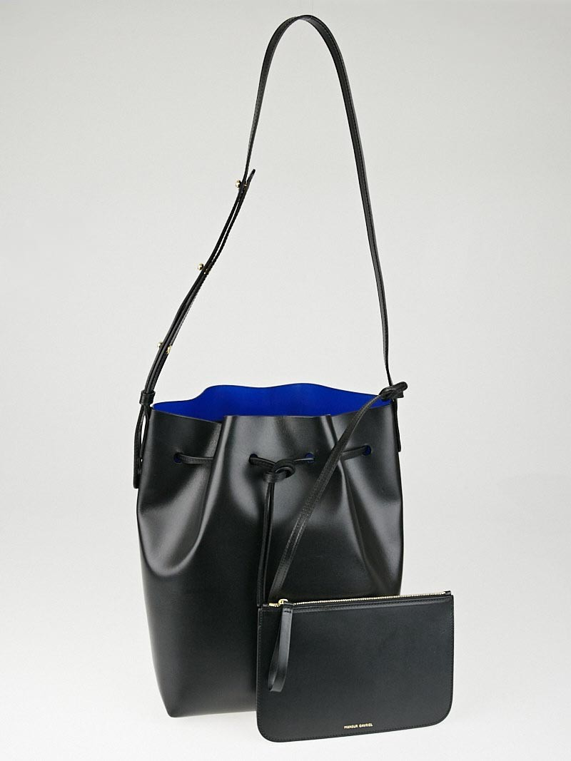 mansur gavriel black royal leather bucket bag yoogi 39 s closet. Black Bedroom Furniture Sets. Home Design Ideas