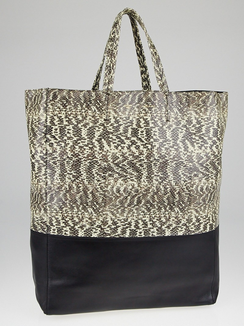 Celine Natural/Black Snake Embossed Leather Vertical B-Cabas Tote ...