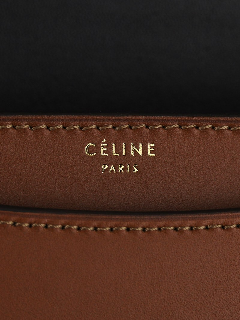 Celine Camel Bicolor Calfskin Leather Medium Case Bag - Yoogi\u0026#39;s Closet
