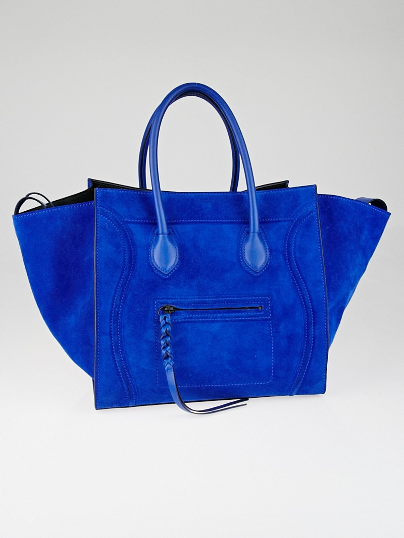 Celine Royal Blue Suede Small Phantom Luggage Tote Bag - Yoogi's ...