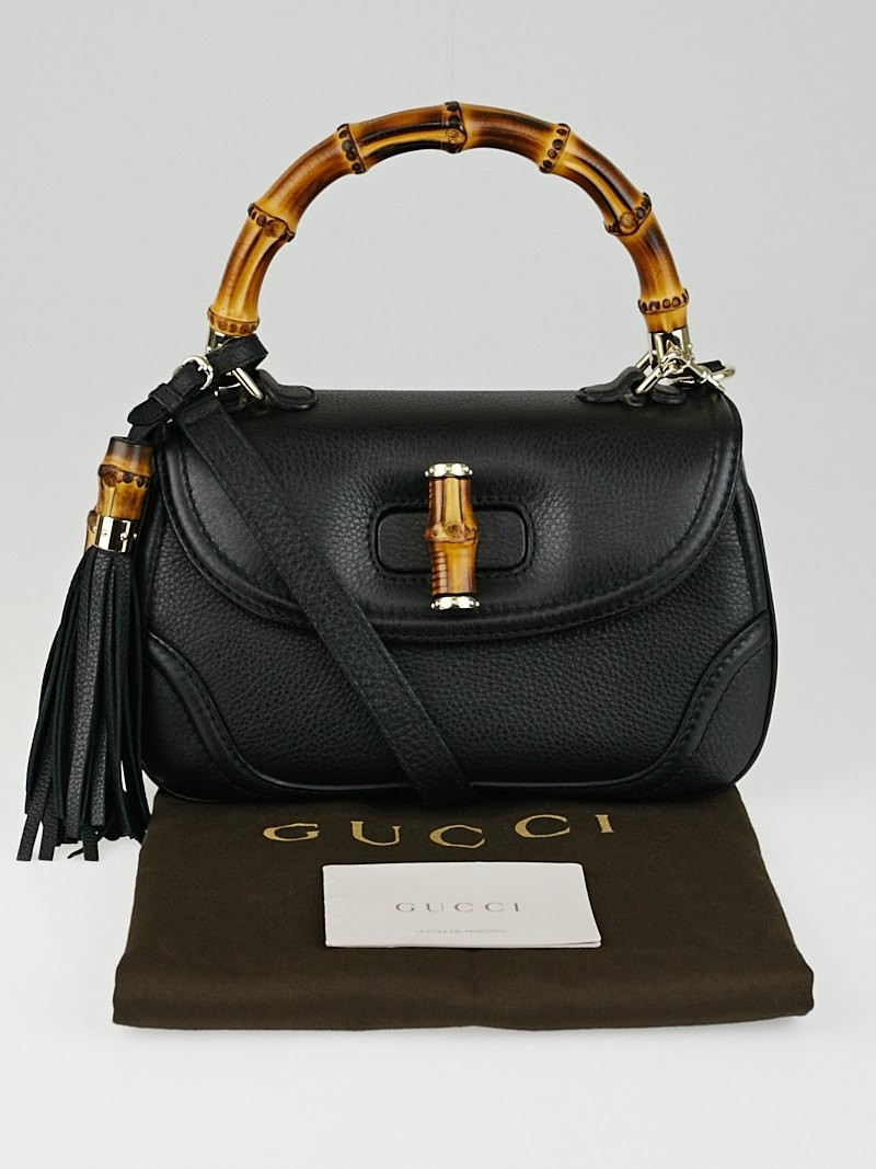 32a548376902 Gucci Black Pebbled Leather New Bamboo Top Handle Bag - Yoogi's Closet