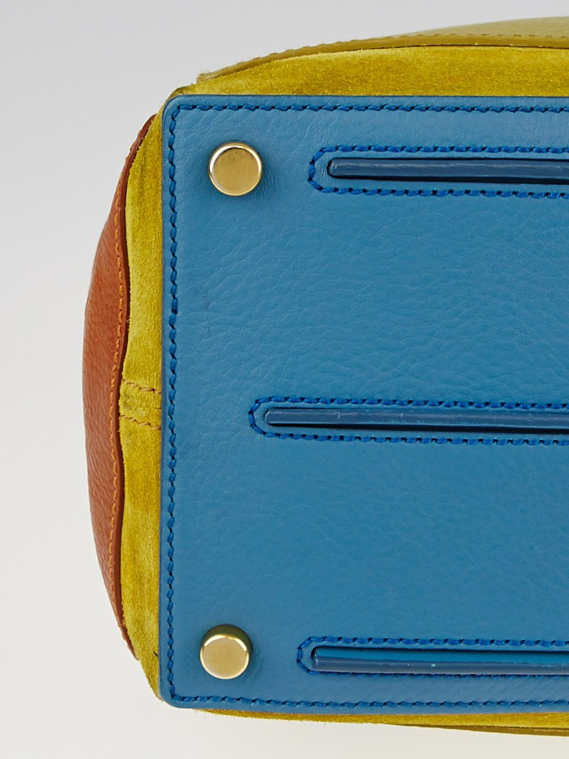 Yves Saint Laurent Green/Blue/Cognac Tricolor Leather Muse Two Bag ...