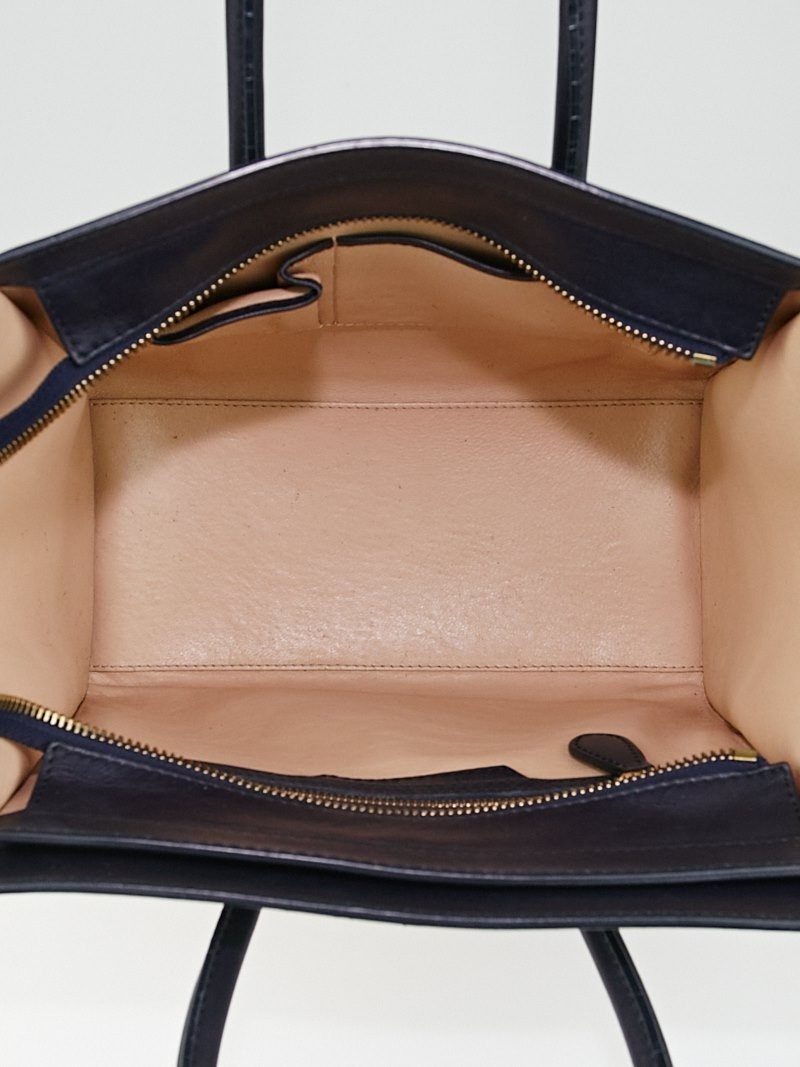 Celine Blue/Beige Tricolor Leather Micro Luggage Tote Bag ...
