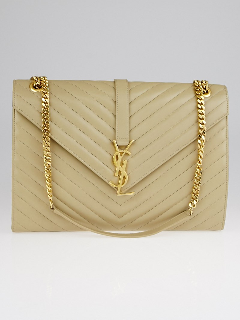 Yves Saint Laurent Beige Matelasse Quilted Nappa Leather Large ...