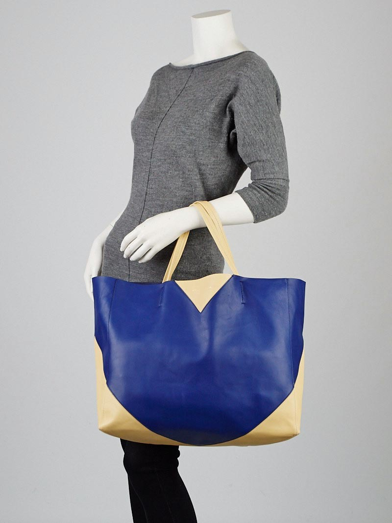 Celine Indigo/Yellow Bicolor Lambskin Leather Horizontal Cabas ...