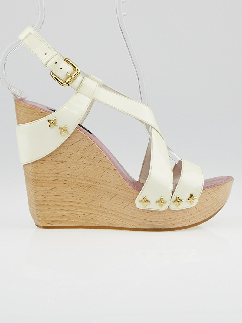 Louis Vuitton White Patent Leather Pomegranate Wedge ...
