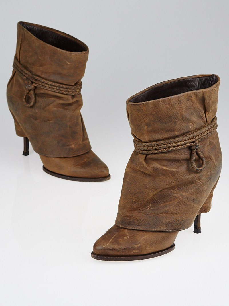 Givenchy Brown Distressed Leather Foldover Ankle Boots Size 7/37.5 ...