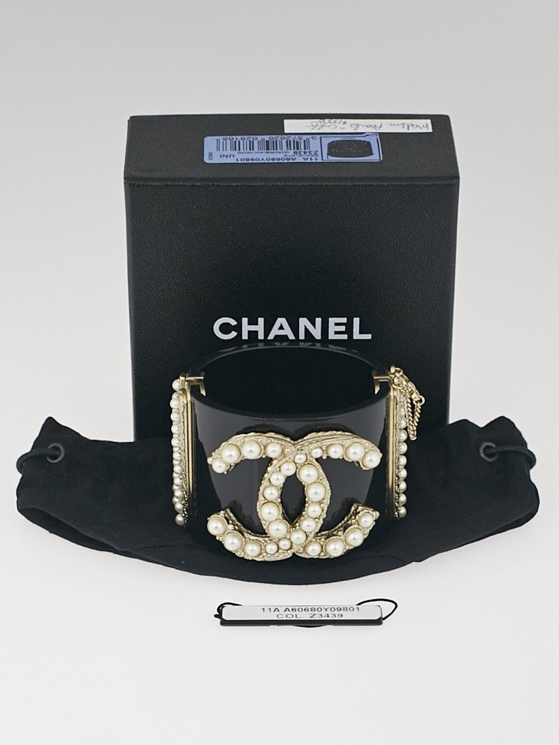 Chanel Black Resin And Glass Pearl Cc Wide Cuff Bracelet