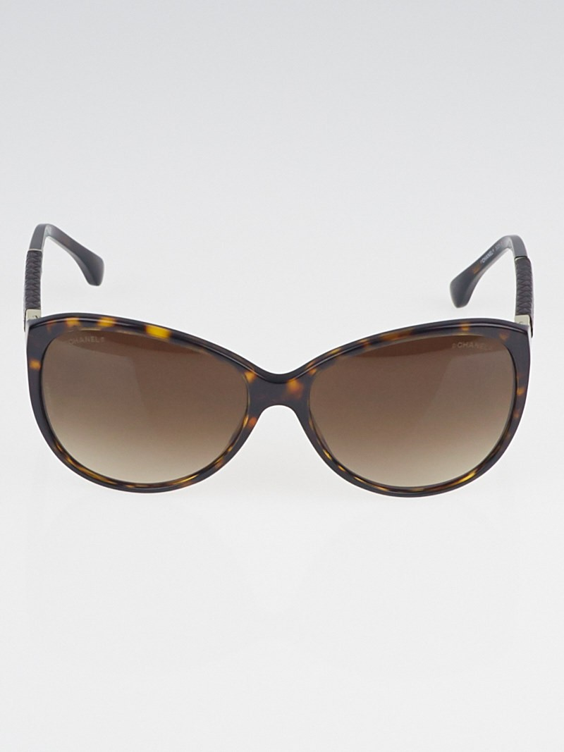 Chanel Glasses Frames Leather : Chanel Brown Tortoise Print Frame and Leather Quilted Arm ...