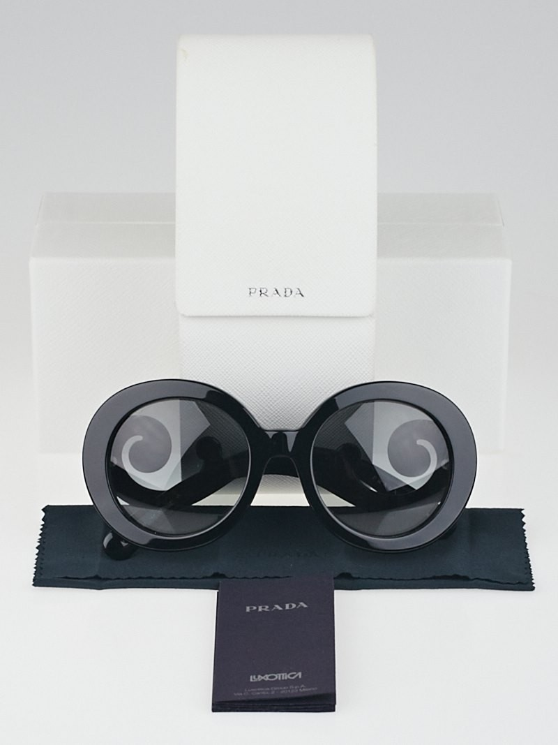Prada Black Oversized Round Frame Baroque Sunglasses ...