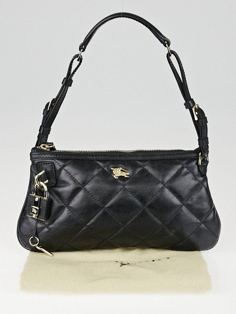 Burberry Black Quilted Leather Small Manor Pochette