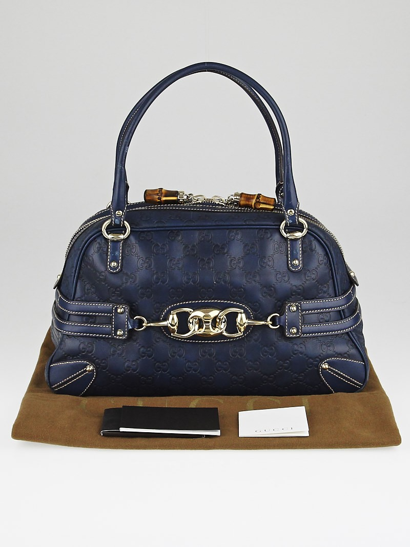 Boston Bag Patchwork Tutorial: Gucci Navy Blue Guccissima Leather Wave Boston Bag