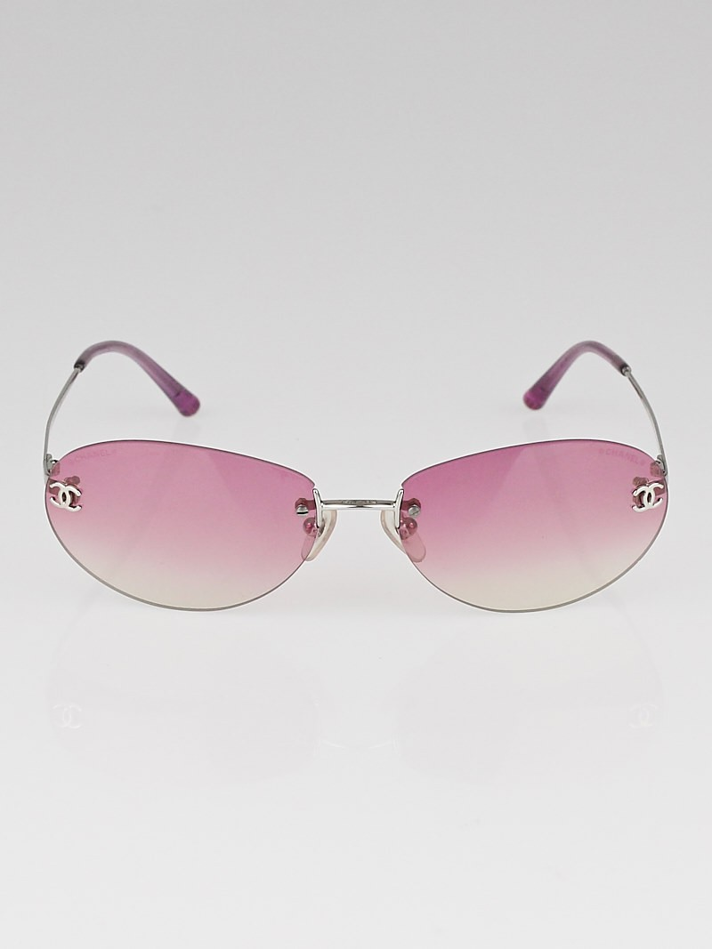 Chanel Eyeglass Frames With Rhinestones : Chanel Pink Gradient Rimless Rhinestone CC Logo Sunglasses ...