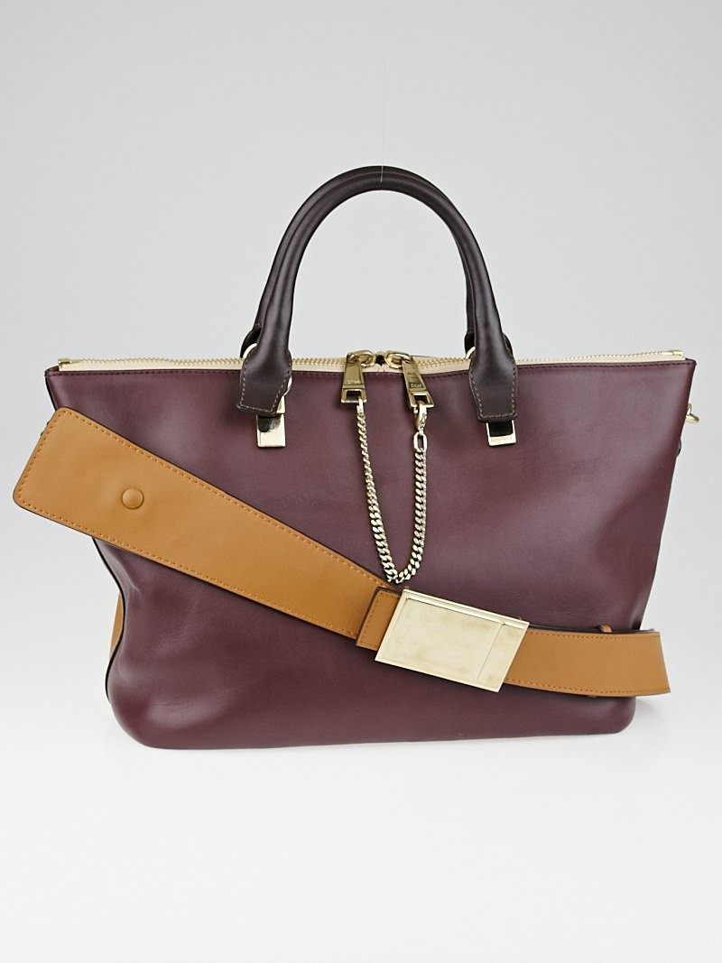 Chloe Teak Brown/Wild Purple Leather Two-Tone Medium Baylee Tote ...