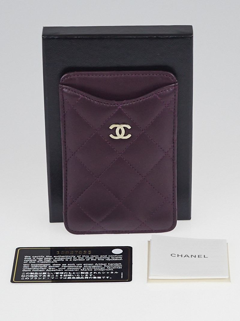 chanel purple quilted lambskin leather iphone 55s case
