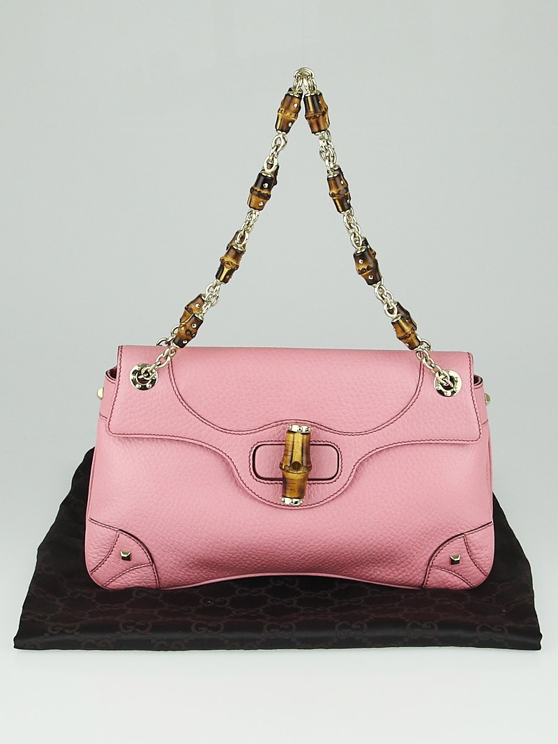 Gucci Pink Pebbled Leather Bamboo Chain Shoulder Bag ...