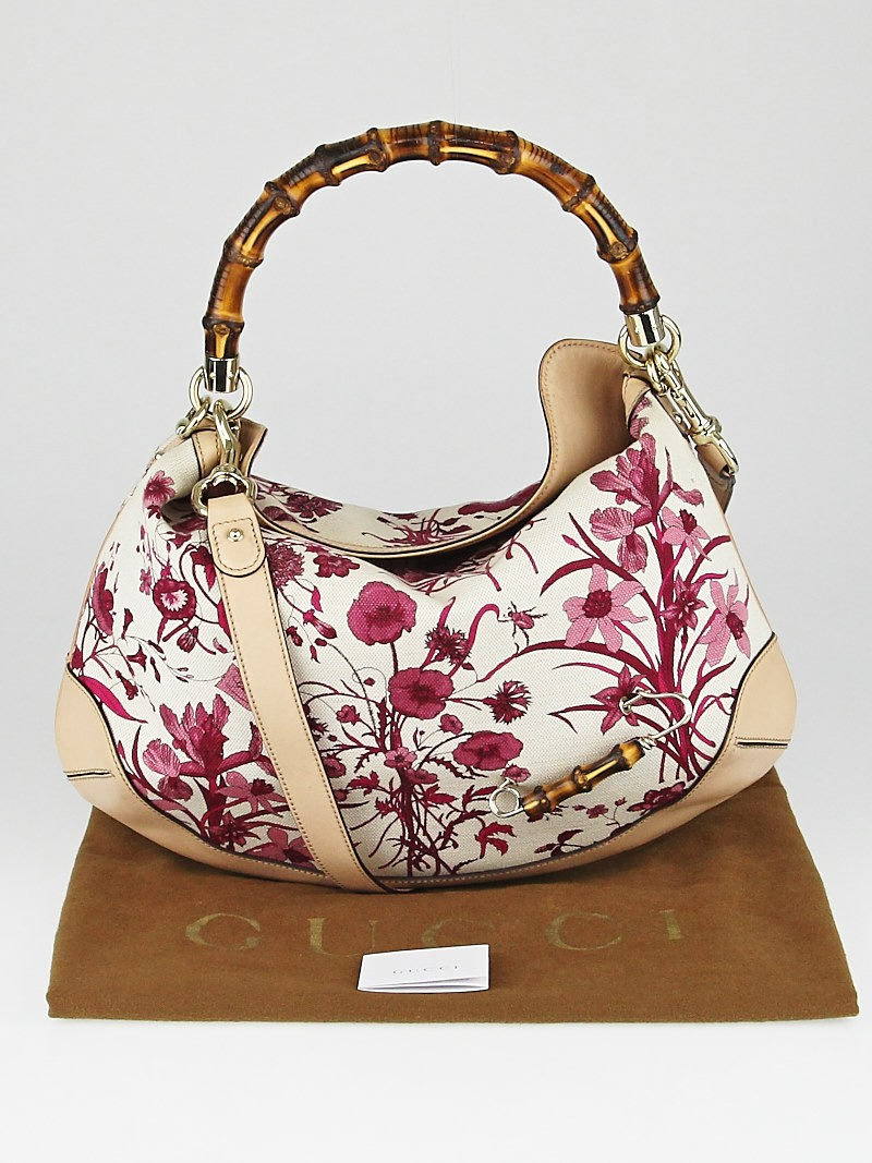 Gucci Pink Floral Canvas and Bamboo Peggy Top Handle Hobo ...