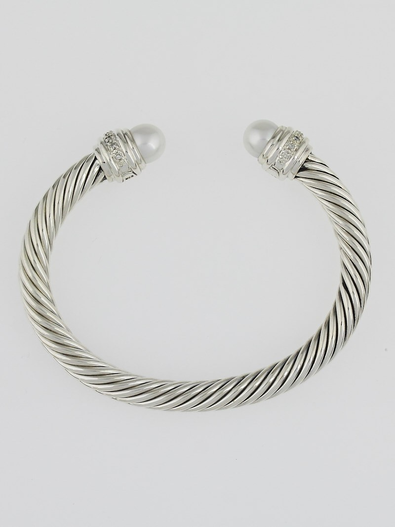 David yurman 7mm sterling silver and pearl with diamonds for David yurman like bracelets