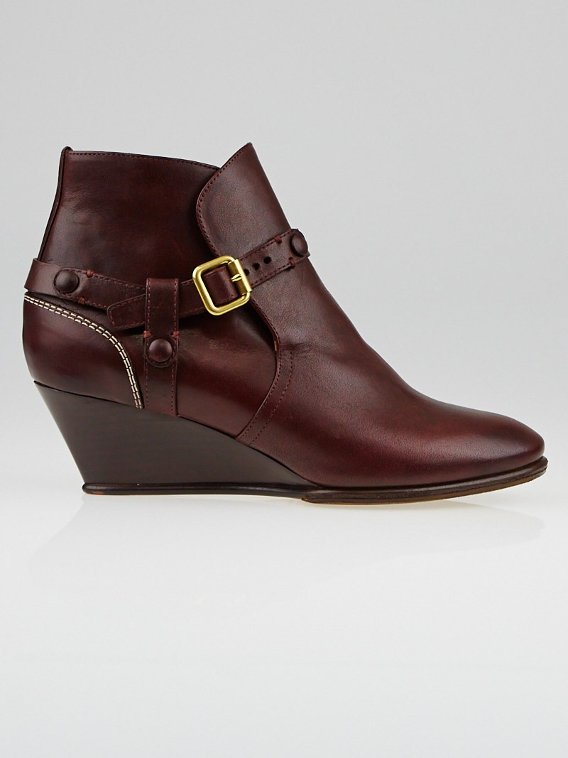 burgundy leather low ankle boot wedges size 5 5 36