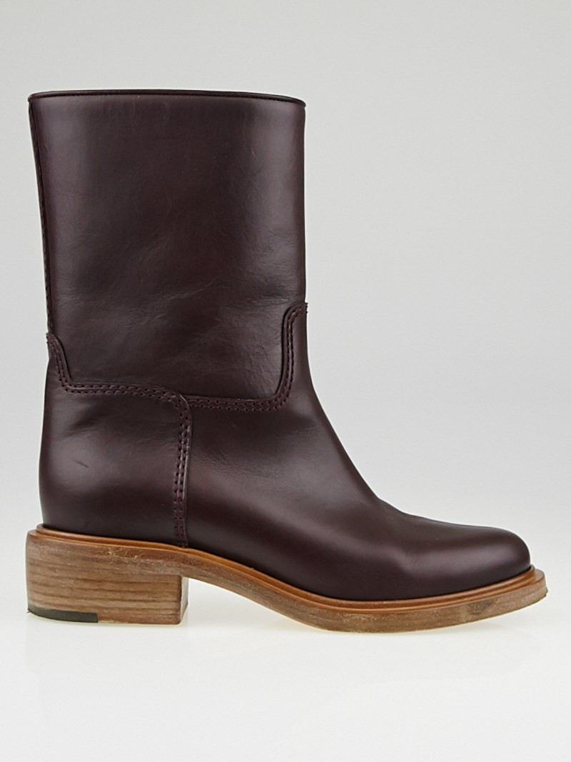 chanel burgundy leather motorcycle boots size 6 36 5