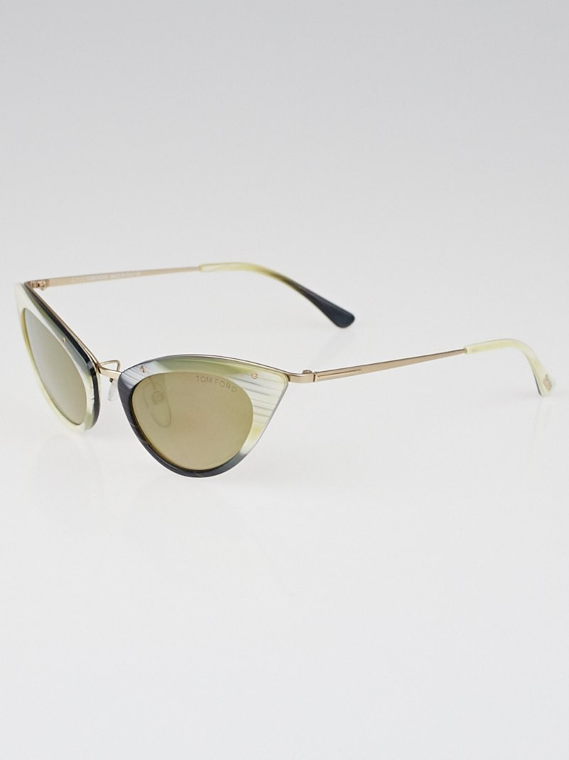Tom Ford Rose Gold Frame Grace Cat-Eye Sunglasses - TF349 ...